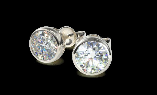 bezel setting diamond stud isolated closeup