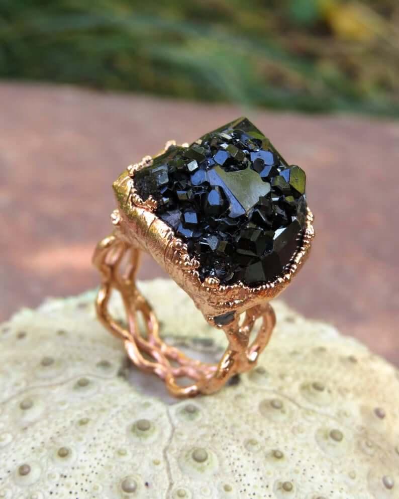 Black garnet with rose gold ring