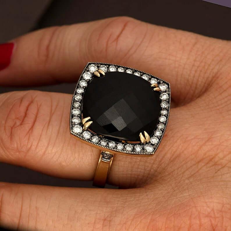 Black jadeite ring