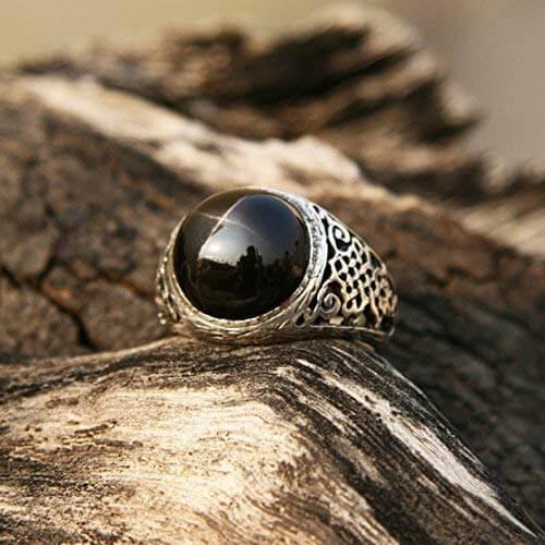 Black star diopside ring