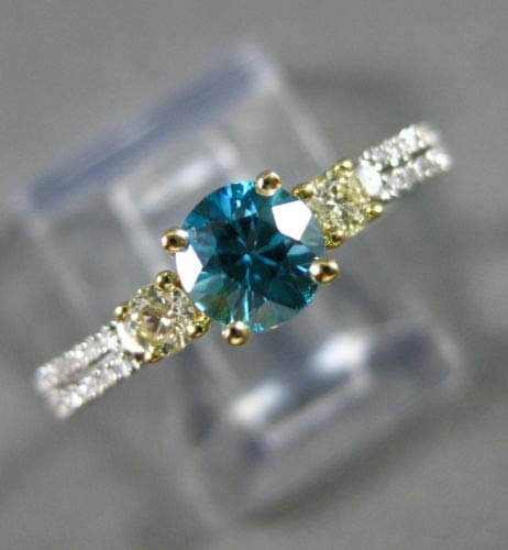 Blue zircon engagement ring