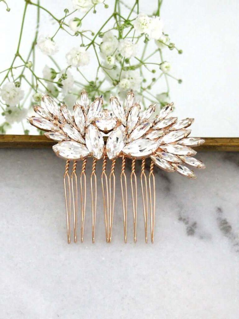 Bridal crystal comb