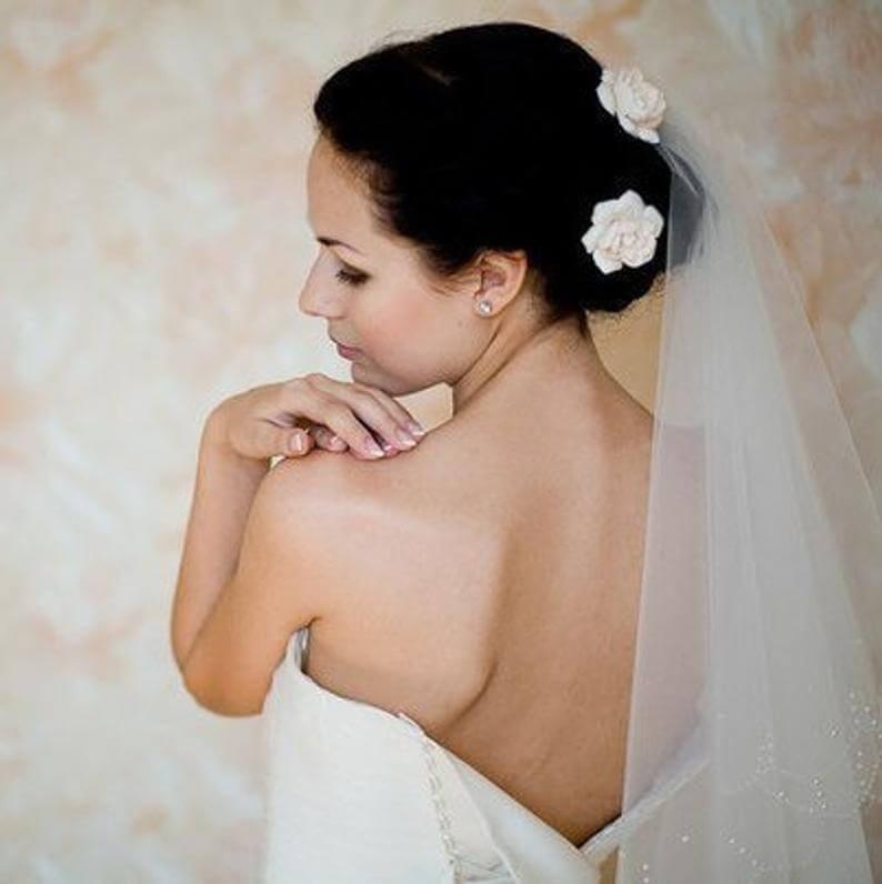 Bridal hair flower gardenia