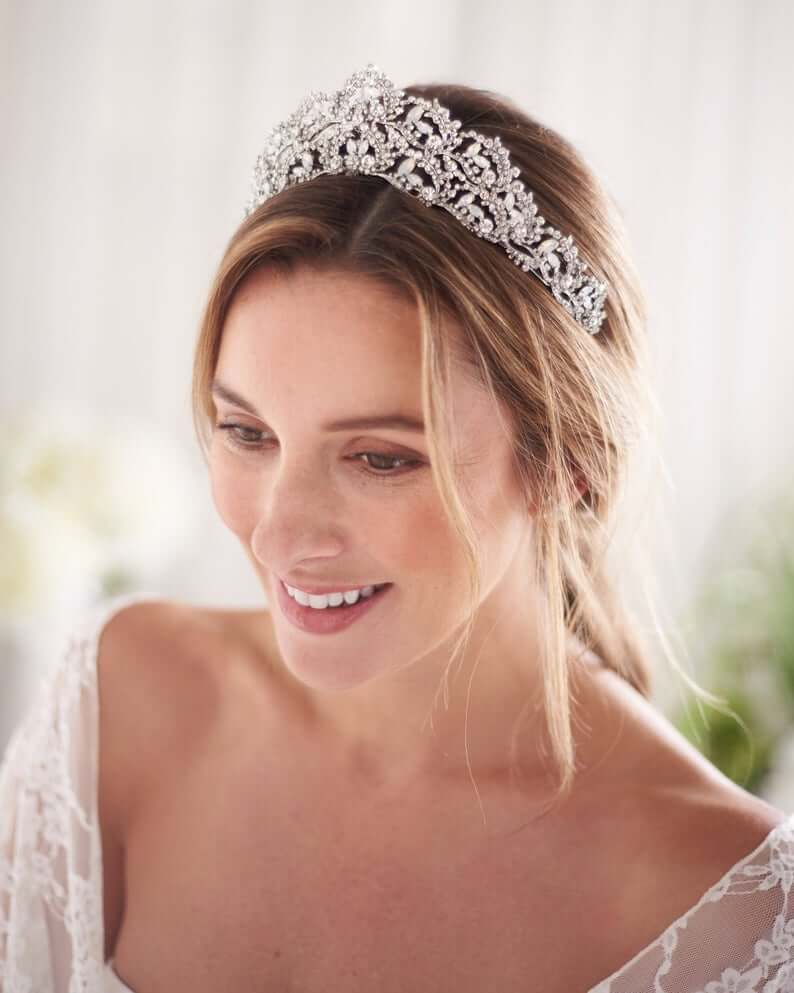 Girl wearing Bridal tiara for her her accessory