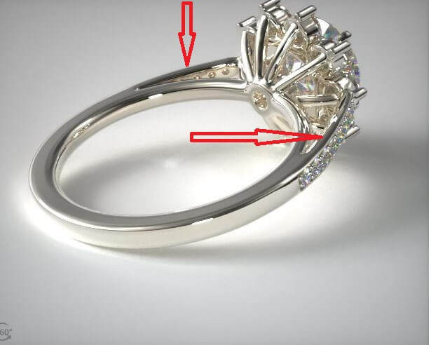Cathedral star engagement ring side view