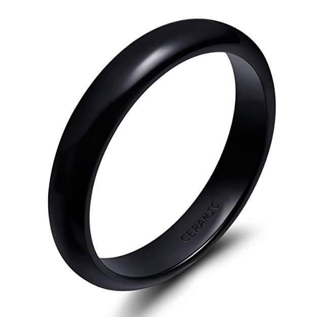 Black ceramic wedding ring