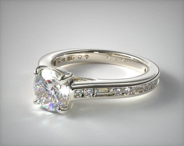 channel setting engagement ring with baguette diamonds
