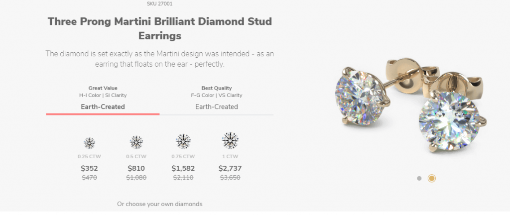 choosing diamonds when buying diamond stud at James Allen