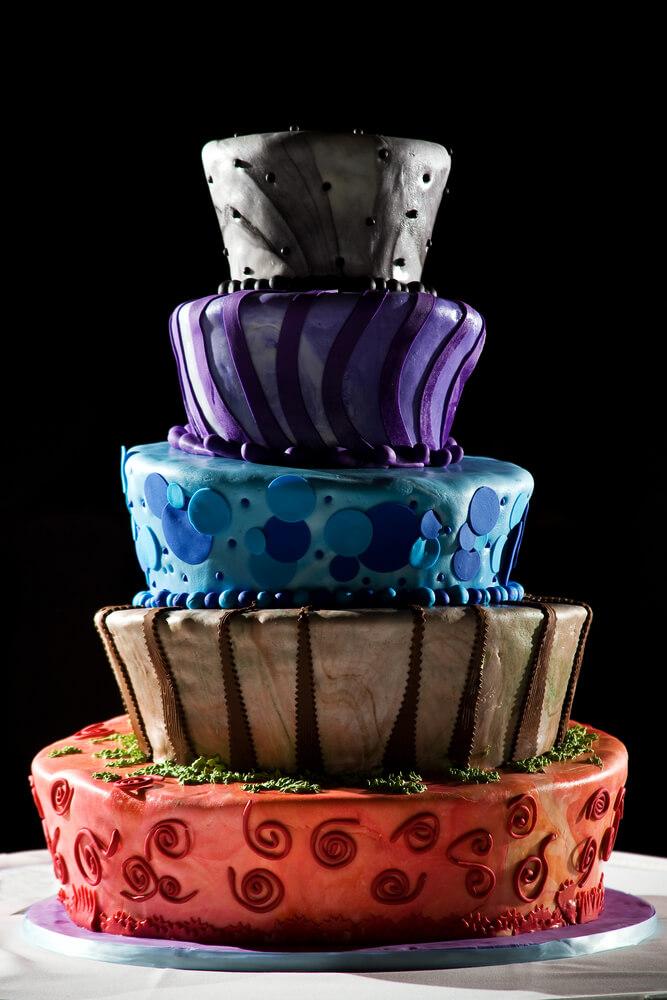 colored multi layer wedding cake