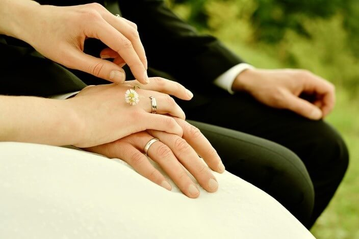 Couple wearing wedding ring holding hand closeup