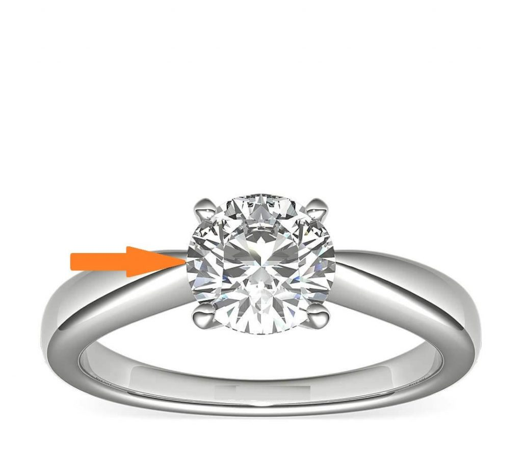 diamond-girdle is exposed in 4 prong engagement ring
