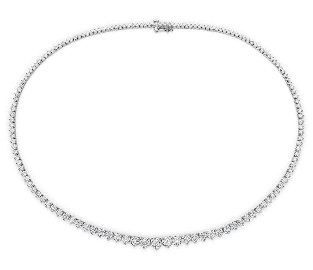 Diamond tennis necklace closeup