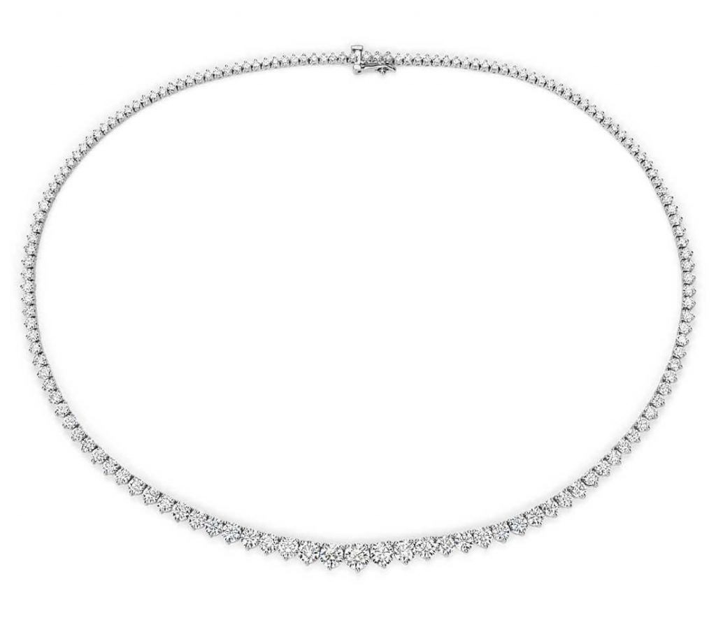 Diamond tennis necklace closeup