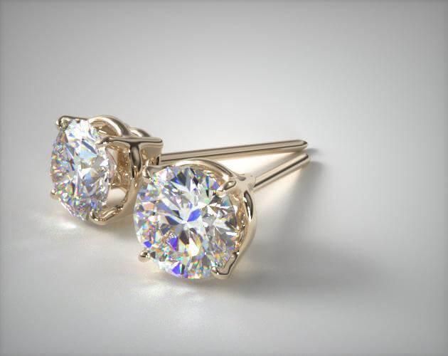 Pair of diamond studs closeup