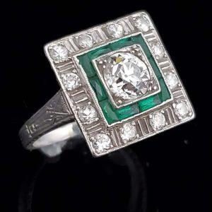 1920 diamonds and emerald ring