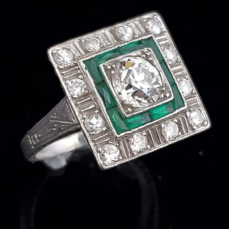 1920 diamonds and emerald ring