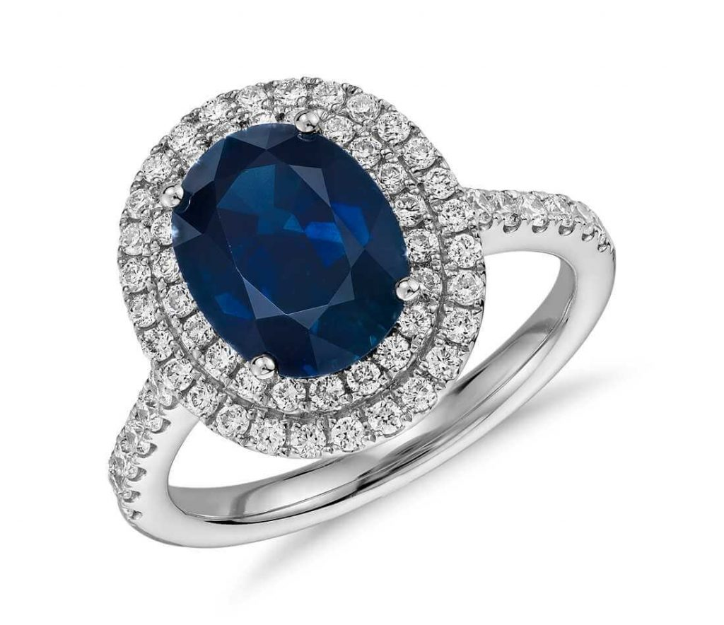 Double-halo blue sapphire and diamond engagement ring
