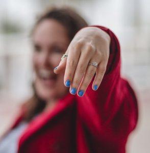 Girl wearing double shank split engagement ring