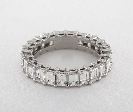 Emerald cut eternity matching ring