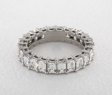 Emerald cut eternity matching ring