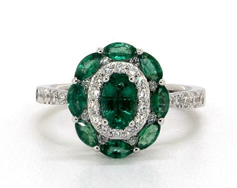 Emerald and diamond floral engagement ring