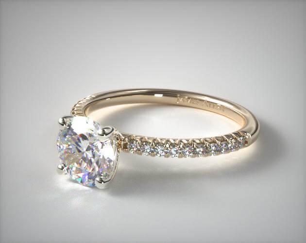 Matching pave engagement ring