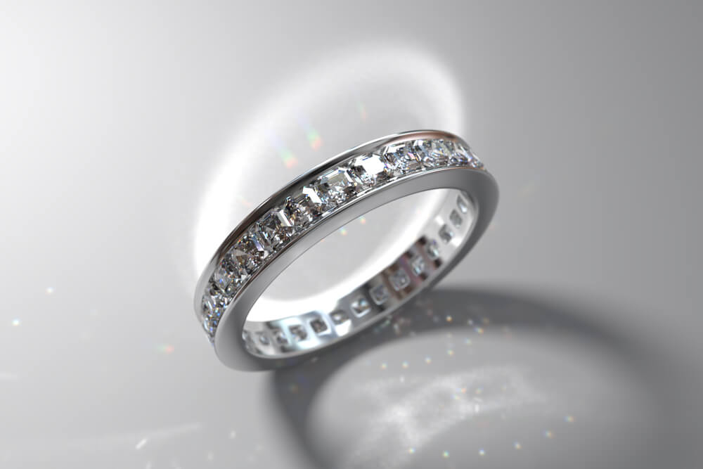 Eternity channel wedding band