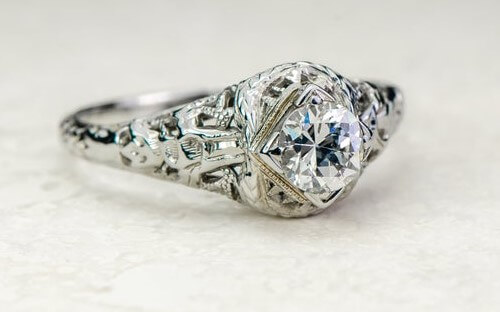 filigree-Edwardian engagement ring