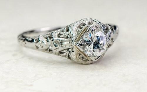 filigree-Edwardian engagement ring