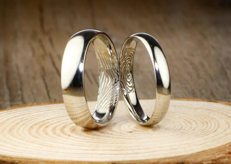 Couple's fingerprint titanium rings