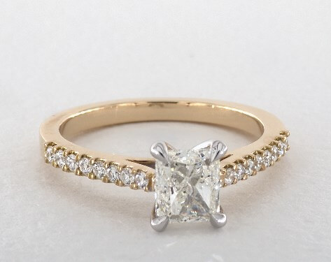 g-color princess shape engagement ring in yellow gold