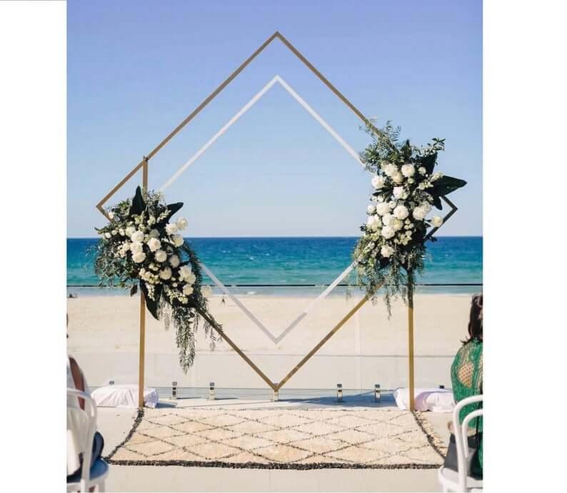 Geometric wedding arch diamond