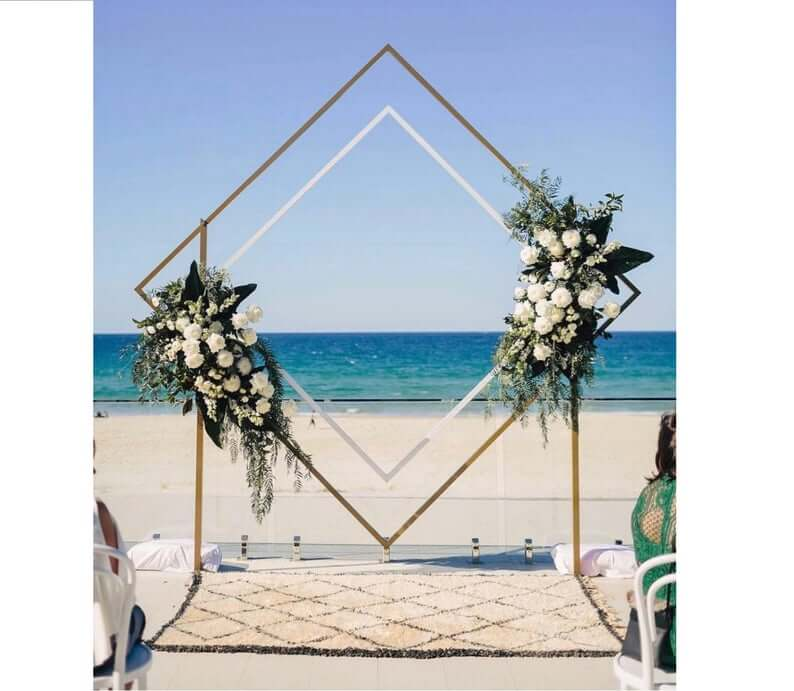 Geometric wedding arch diamond