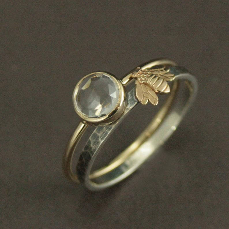 Gold silver ring