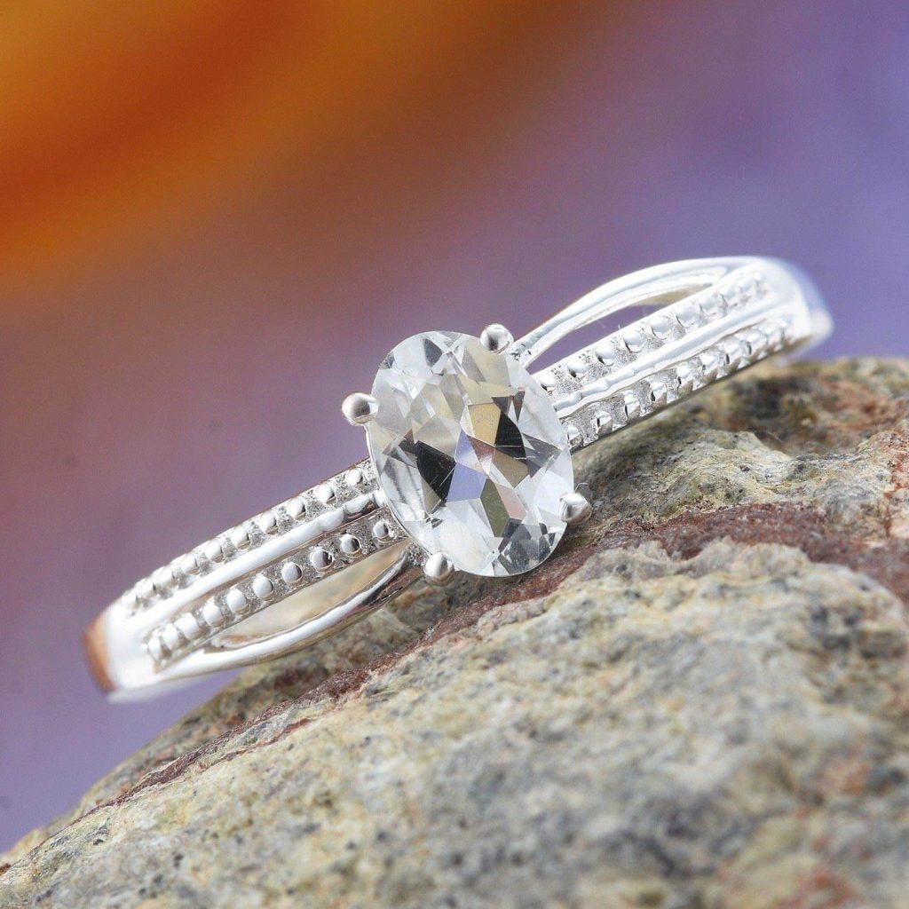 Goshenite looks like diamond in a ring