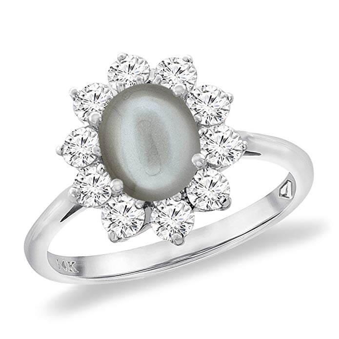 Gray moonstone ring
