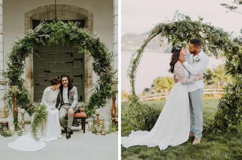 Green round wedding arch