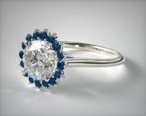 halo-sapphire round shape diamond engagement ring