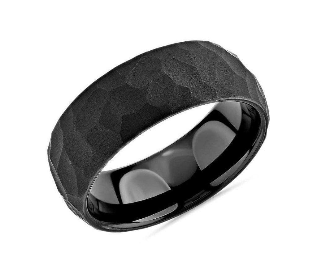 Hammered black tungsten carbide wedding ring