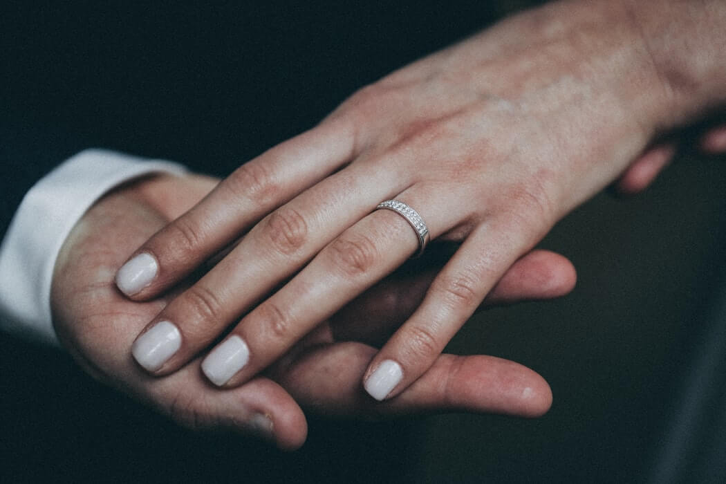 hand diamond wedding band white gold