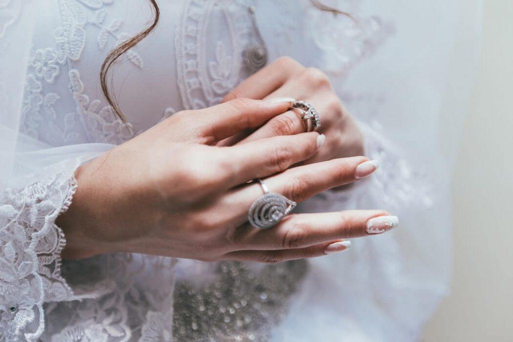 Girl wearing eternity ring