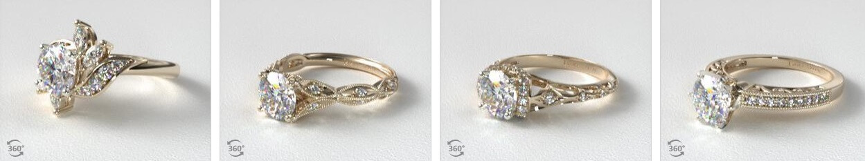 Vintage engagement rings side by side
