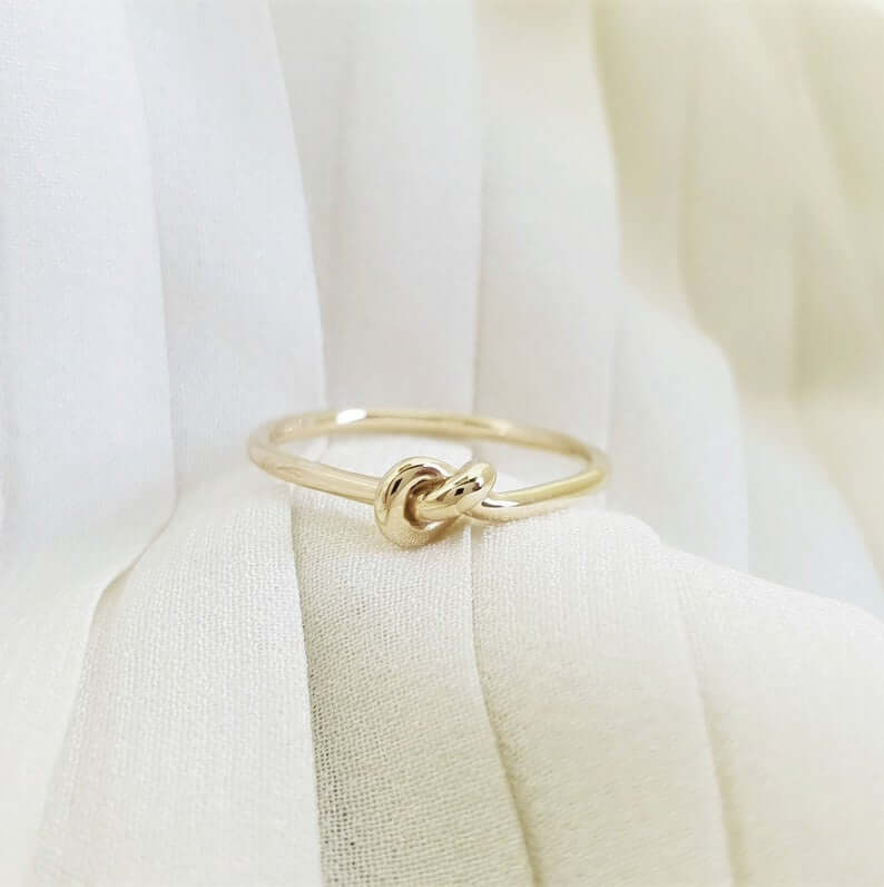 Engagement ring without stone, love knot ring