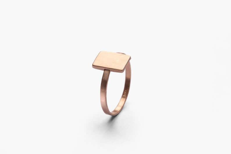 Metal square engagement ring