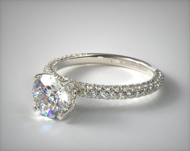 Micro pave engagement ring in white gold