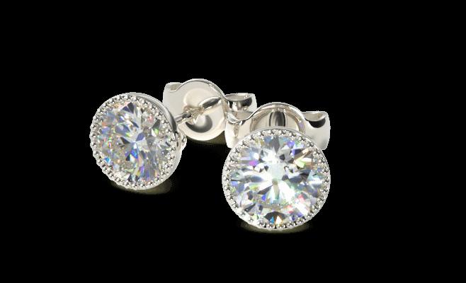 Milgrain diamond studs closeup
