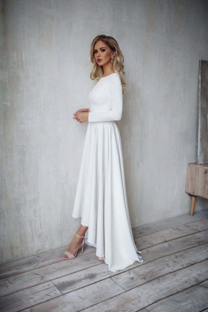 Bride wearing minimalist wedding dress
