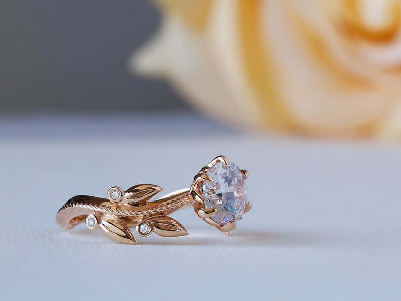 Moissanite Victorian engagement ring