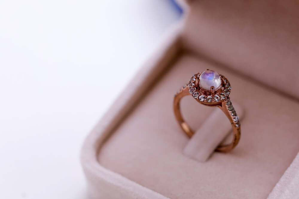 Moonstone engagement ring in a box