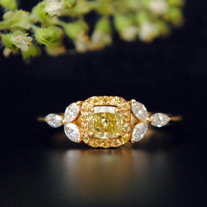 Natural leaf design yellow diamond engagement ring